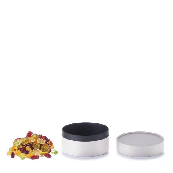 geöffnete betubed Pappdose 60 x 123 mm Farbe zartrosa, mit Gummibärchen daneben