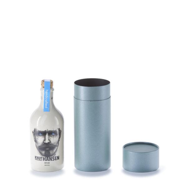 Knut Hansen Gin Flaschen mit geöffneter, salbeifarbene betubed Pappdose