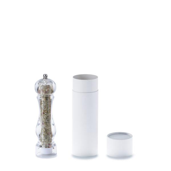 geöffnete 3-teilige 215 x 66 mm betubed Pappdose in weiß, mit einer Pfeffermühle daneben