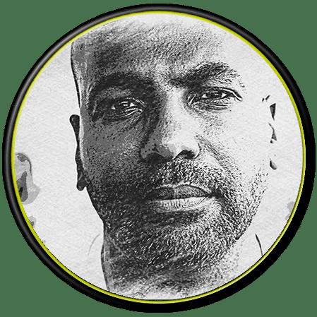 betubed Geschäftsinhaber Demekssa Duresso in schwarz-weiß, in einem runden Rahmen