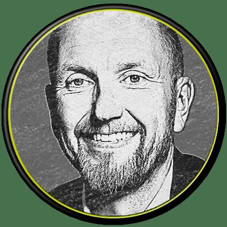 betubed Geschäftsinhaber Stefan Thiel in schwarz-weiß, in einem runden Rahmen