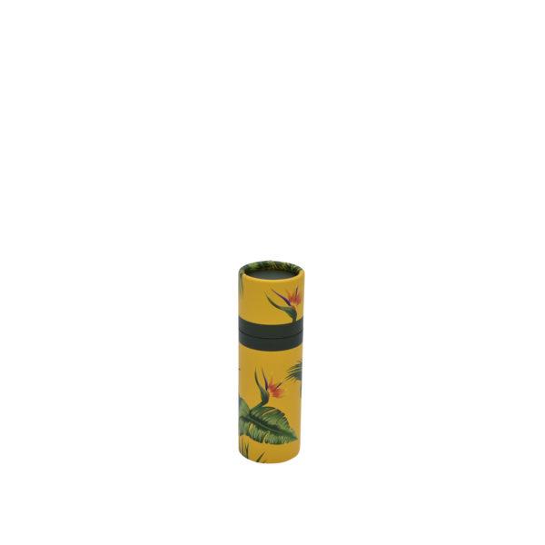 betubed Pappdose mit Jungle Motiv: gelber Hintergrund mit grünen Blättern